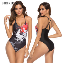 New Sexy Floral Print Swimsuit Women One Piece Suit Black Bathing Suit S-XL Girl Cross Back Bandage Swimwear One Piece Monokini все цены