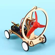 Diy brinquedos de carro de vento elétrico excelente plástico madeira crianças estudantes ciência física experimentos tecnologia aprendizagem kit