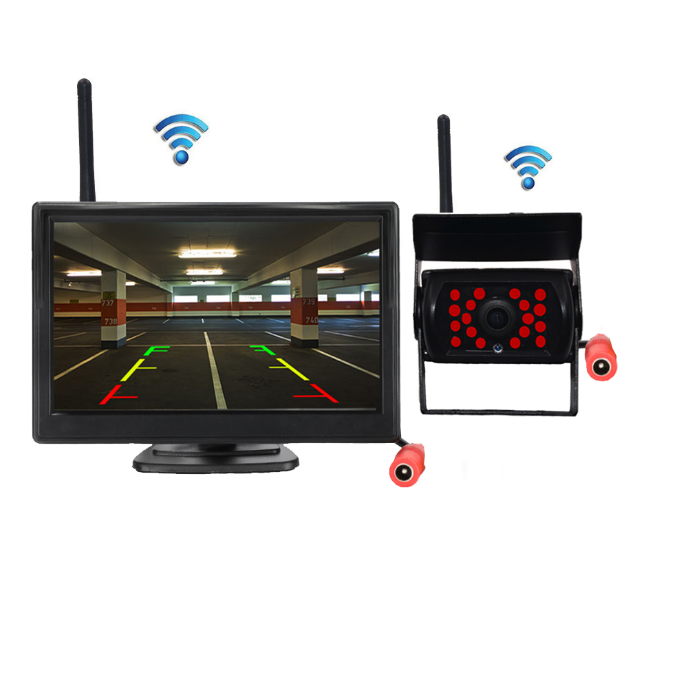 Wireless Car Reverse Reversing Rear View Backup Parking Camera License Plate Camera With Monitor For Car SUV RV
