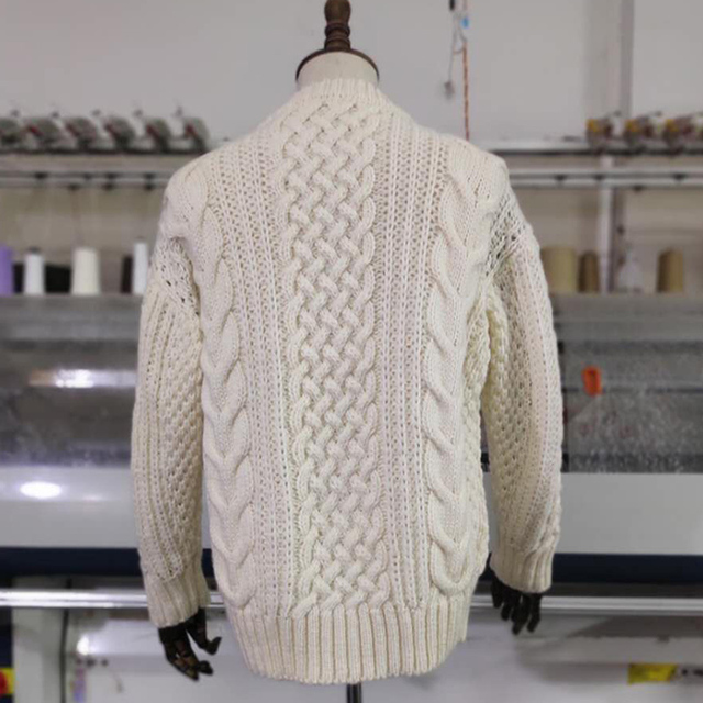 Spring 2020 Men's Pullover Sweater Soft Comfortable Wool Sweater coat Thick warm Hand-knitted High Quality Beige Men's Sweater