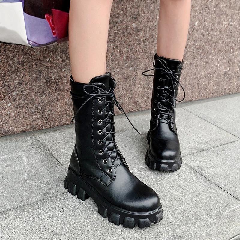 2019 Fashion White Black Lace Up Faux Leather Boots Women Mid Calf Platform Gothic Sport Ladies Shoes Sneakers Women