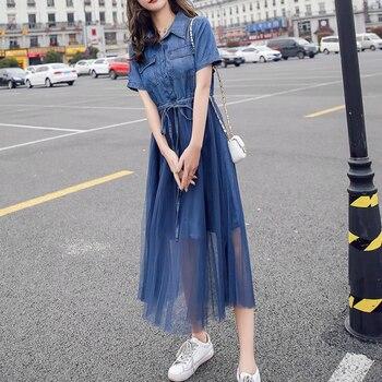 S-3XL Women Causal Cotton Dress Thin Denim Mesh Dresses
