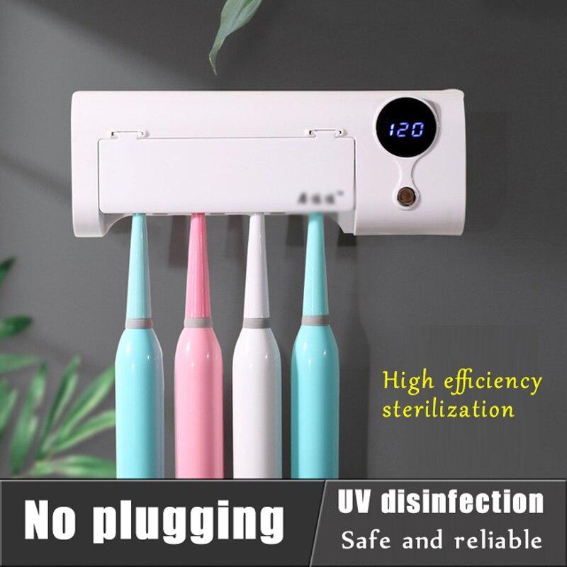Smart Induction Anti-Bacteria UV Light Disinfectant Toothbrush Sterilizer Oral Cleaner Box Holder Dental Bathroom Set
