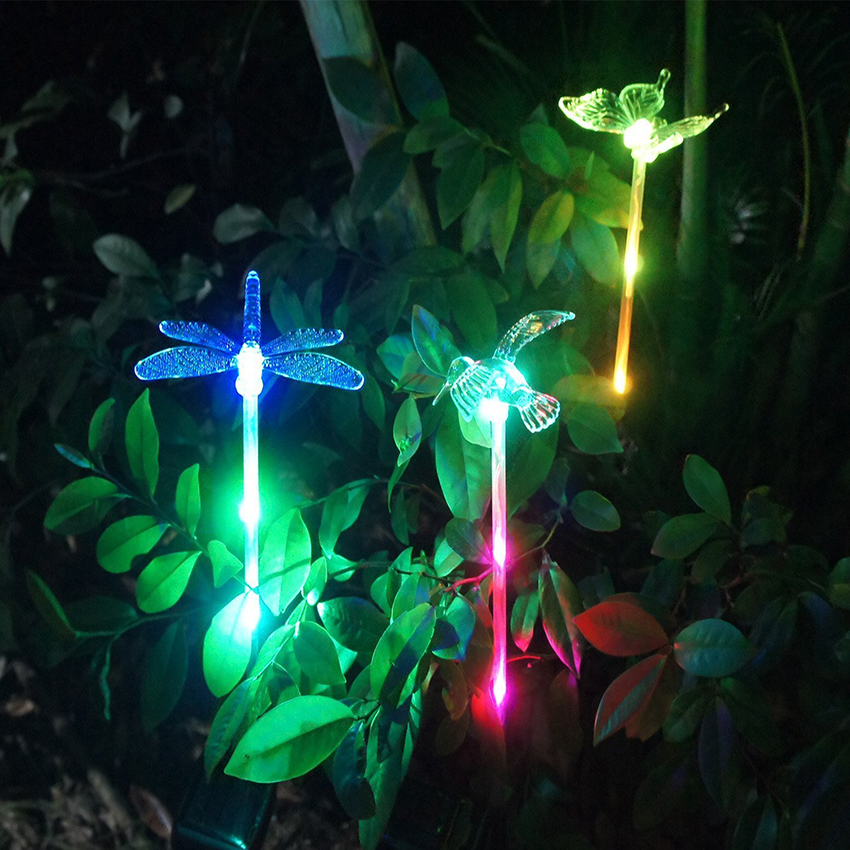 Color-Changing LED Solar Landscape Path Yard Light Outdoor Dragonfly/Butterfly/Bird Lawn Lamps Waterproof Solar Garden Lights