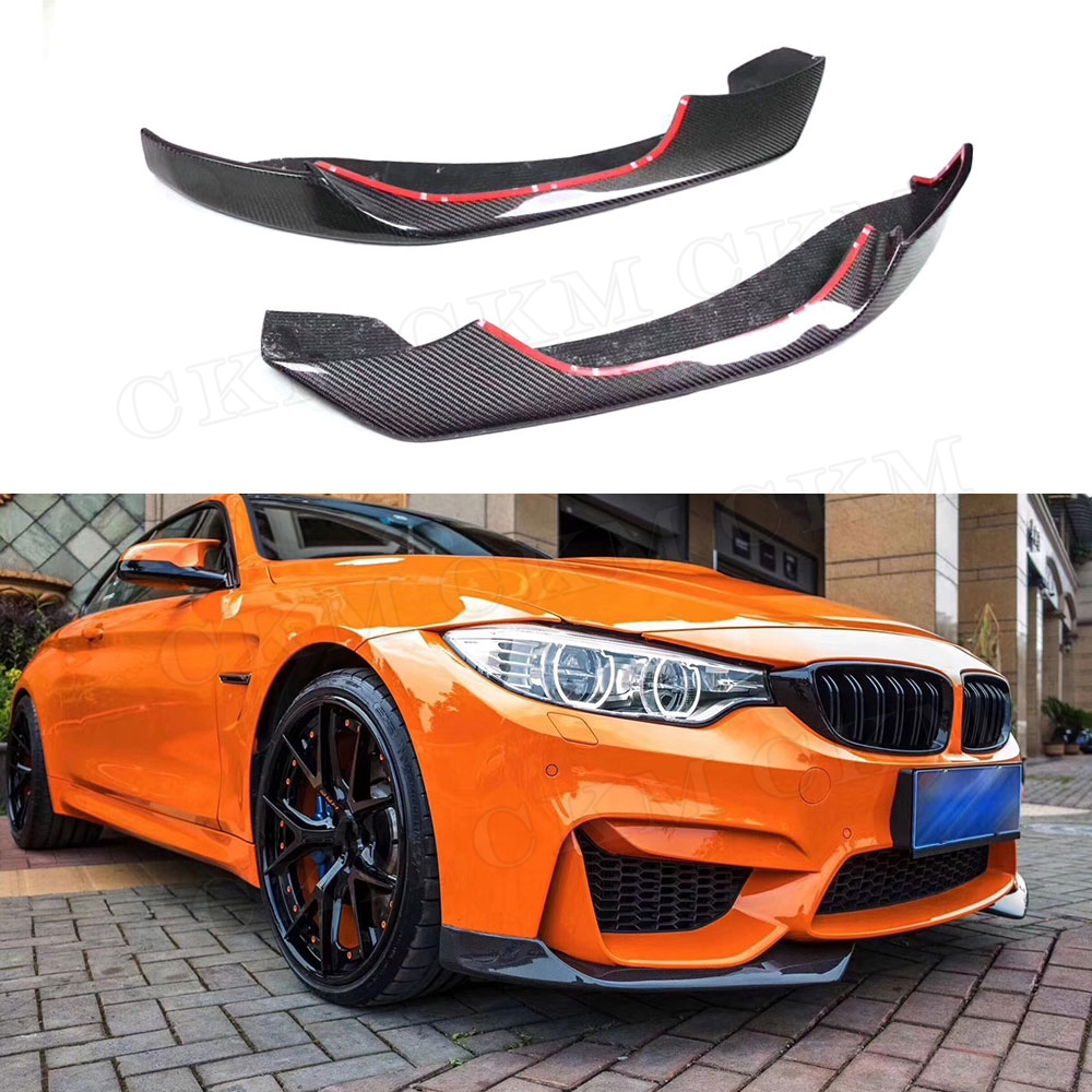 Carbon Fiber Front Lip Splitters Aprons Flaps Cupwings for BMW 3 4 Series F80 F82 F83 M3 M4 2014-2017 Chin Guard Car Styling image
