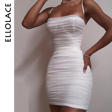 Ellolace Sexy Fashion Ruched Mini Dress Women Sleeveles Slim Spaghetti Elegant Party Dresses Female Clothes 2019 Fitness