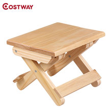 COSTWAY Portable Simple Wooden Folding Stool Outdoor Fishing Chair Small Stool W0169(China)