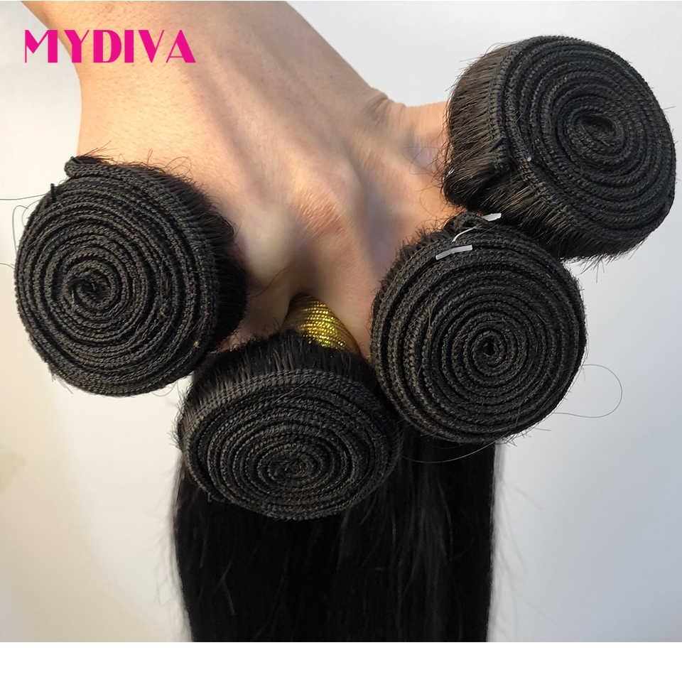 Mydiva 8-34 36 38 40 inç brezilyalı saç örgü demetleri düz % 100% İnsan saç 3/4 demetleri doğal renk remy saç ekleme