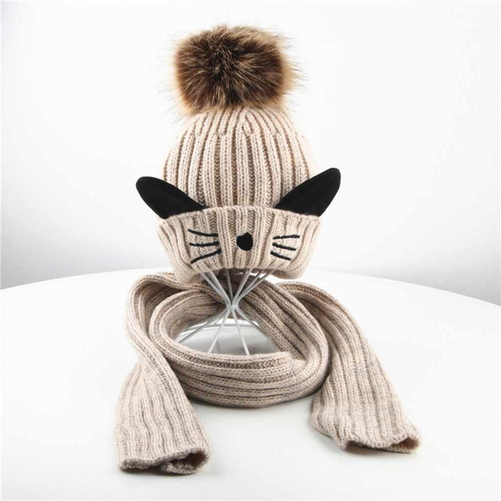 Crianças menina & menino bebê inverno crochet malha chapéu gorro hairball boné cachecol conjunto terno 2 pcs feminino meninos meninas correspondência chapéus # ba