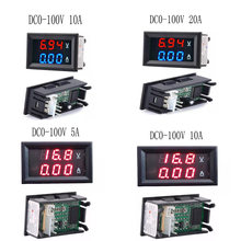 "Mini voltímetro digital amperímetro DC 100V 10A panel amplificador voltímetro probador detector ""LED de doble pantalla diy kit(China)"