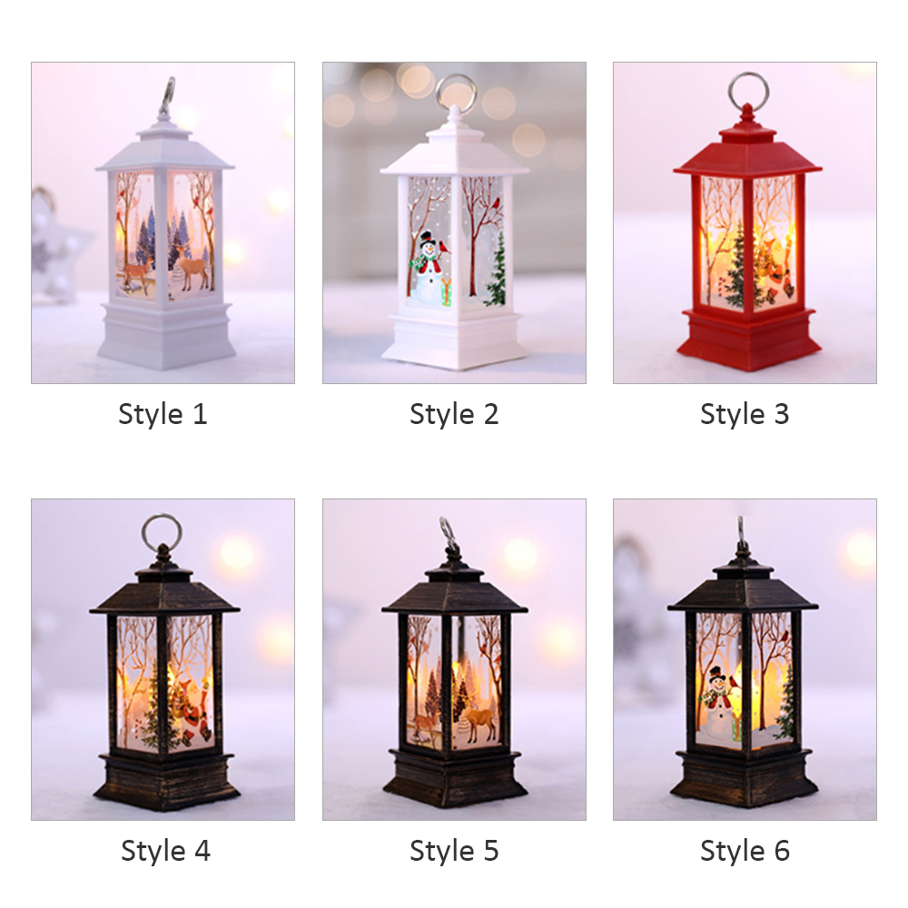 Christmas Flame Light Decoration Lamp with Elk//Snow//Santa Claus Pattern