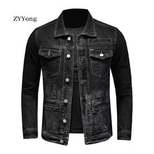 ZYYong Denim Jacket Men's Retro Motorcycle Basic Jacket Streetwear Hip Hop Bomber Jacket Denim Men's Denim Jacket Chaqueta Hombr