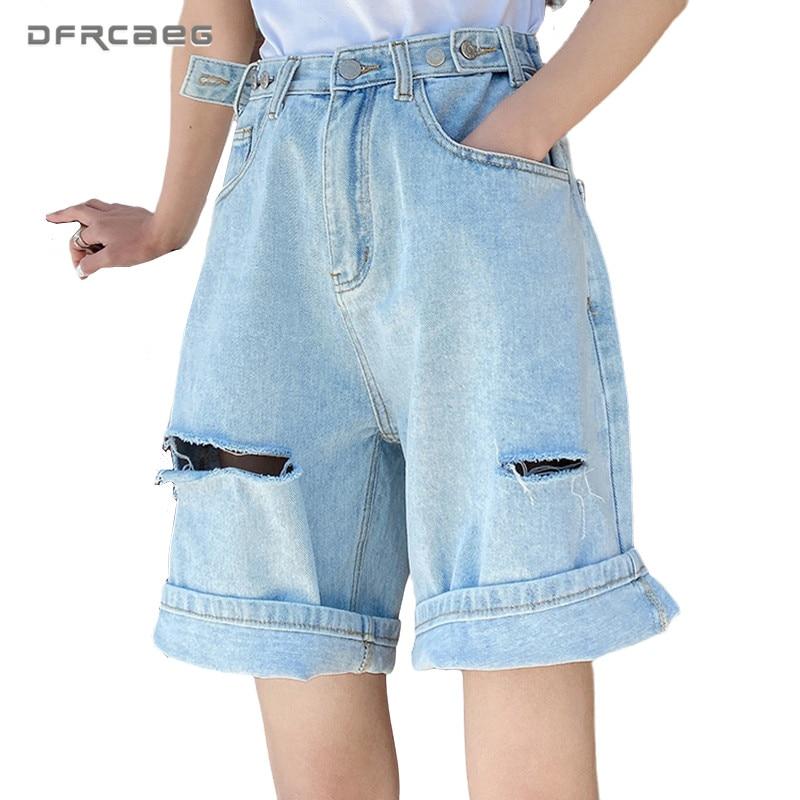 Adjustable High Waist Loose Summer Bermuda Denim Shorts Woman 2020 Knee Length Hole Wide Leg Short Capris Trousers Jeans Femme