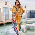 Neue Strand Cover up v-ausschnitt Sexy Strand Maxi Kleid Robe De Plage saida de praia badeanzug abdeckung ups pareo strand Sarong Bademode