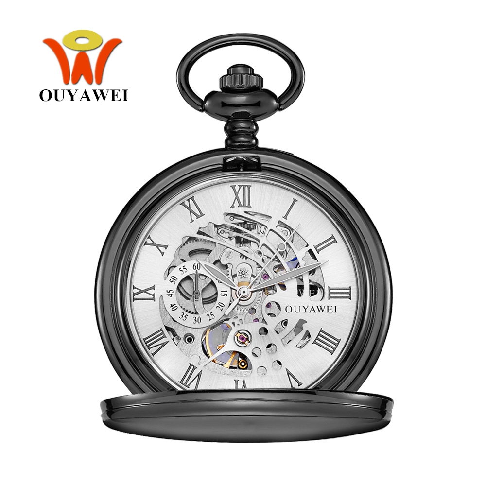 Vintage Men Pocket Watch Self Winding Mechanical Fob Watch Fashion Black Skeleton Man Necklace Chain Clock Transparent Backcover