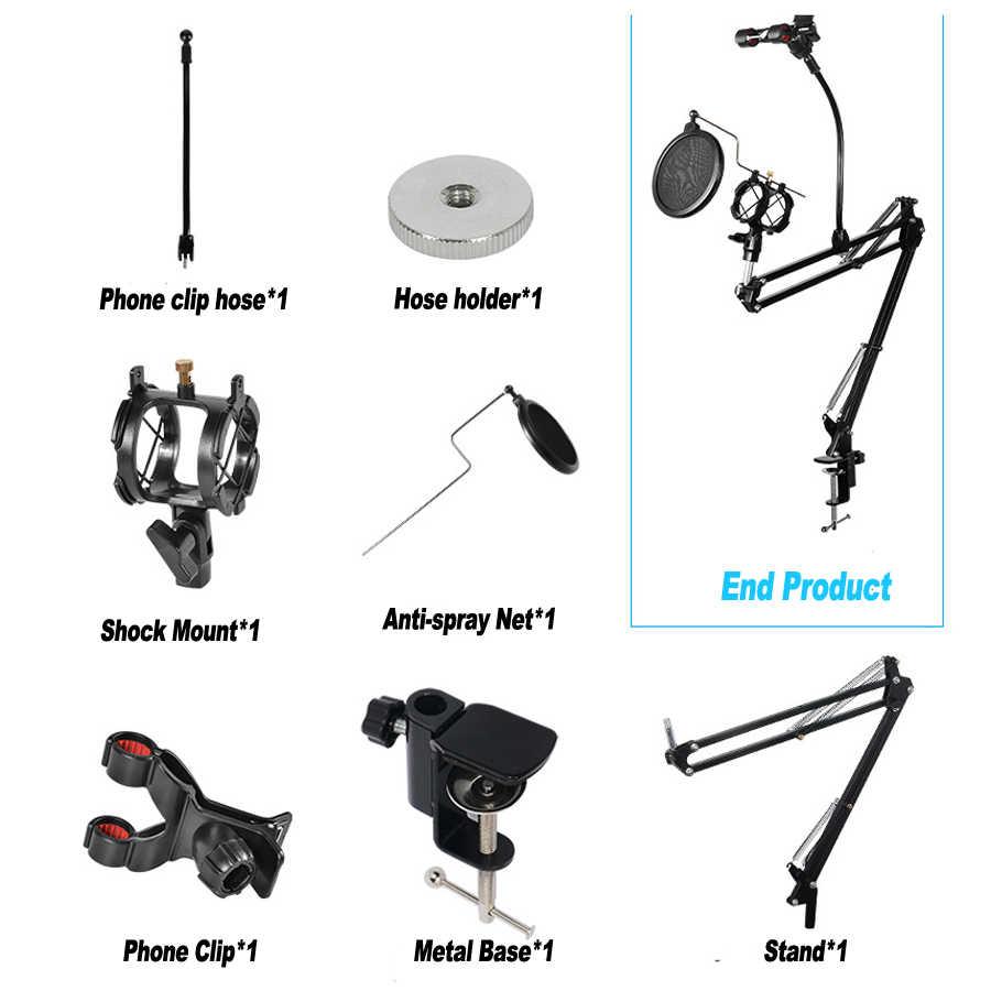 ANGEEK Soporte para micr/ófono y brazo de tijera para radio y micr/ófono