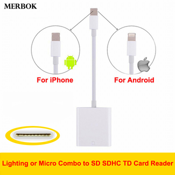 Combo Lighting/Micro USB to SD SDHC TD Card Reader Digital Camera kit Compatible OTG Date Cable Adapter For iPhone iPad Android