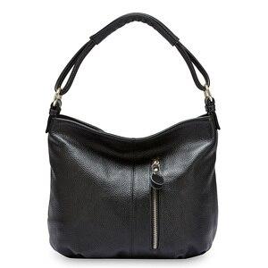 Image 2 - Zency 100% hakiki deri çanta Hobos kadınlar omuzdan askili çanta moda bayan Crossbody Messenger çanta Tote çanta siyah gri
