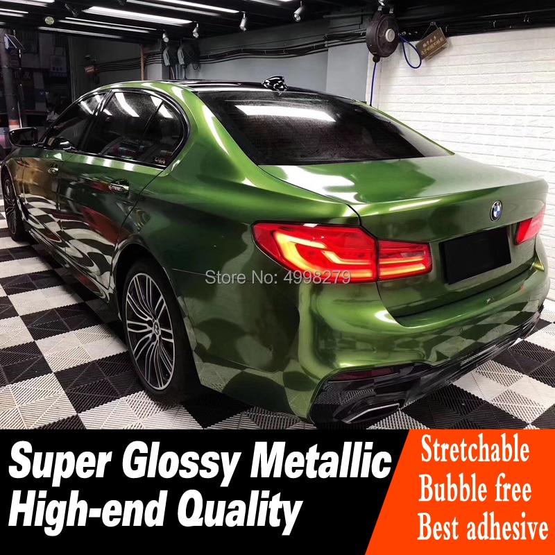 Enveloppe de vinyle vert Mamba métallique Super brillant pour film de couverture de voiture