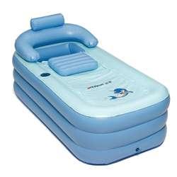 Blau Tragbare Falten Aufblasbare Air Badewanne für Erwachsene Kinder Warme SPA Blow Up Reise Bad Mit Abdeckung 160x84x64cm