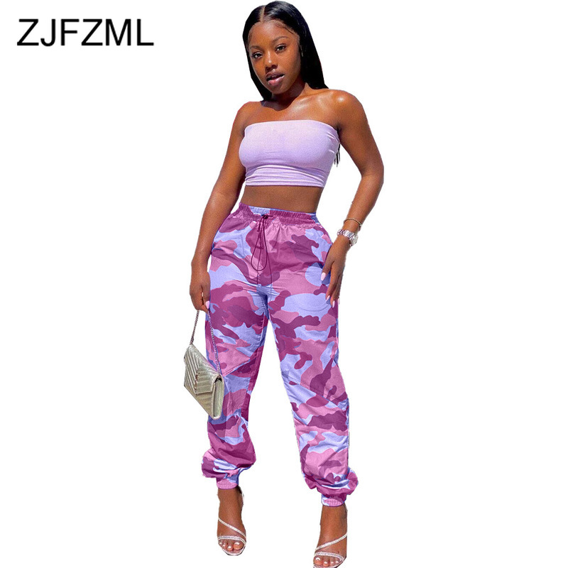 High Waist Spring Autumn Sportswear Trouser Women Camouflage Print Harem Sweatpants Casual Hip Hop Female Loose Long Capris Pant