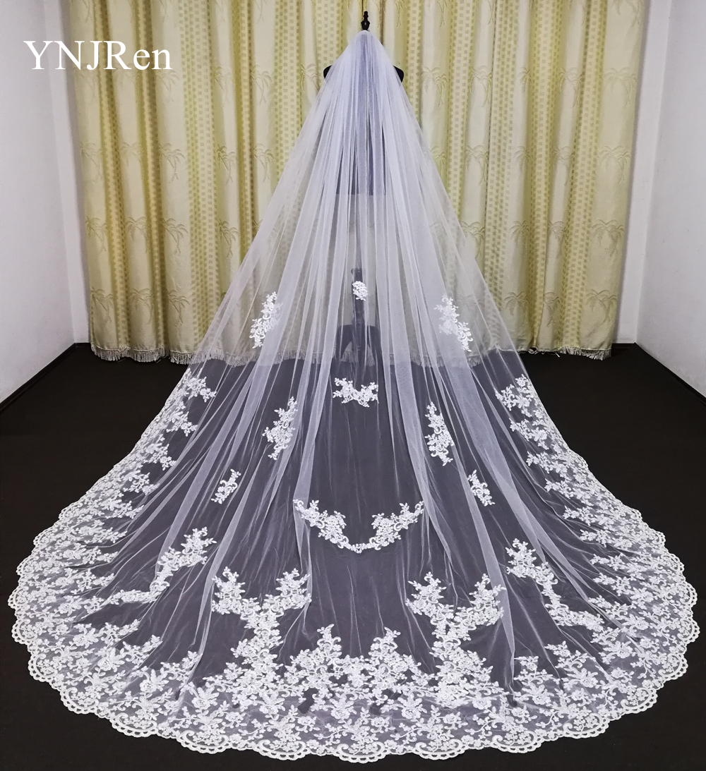 2020 New Wedding Veil 3M With Comb Lace Mantilla Bridal Veil Wedding Accessories Cathedral Length Elegant