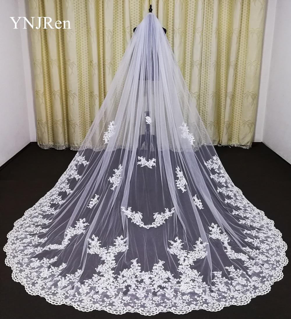 2020 New Wedding Veil 3M With Comb Lace Mantilla Bridal Veil Wedding Accessories Cathedral Length Elegant