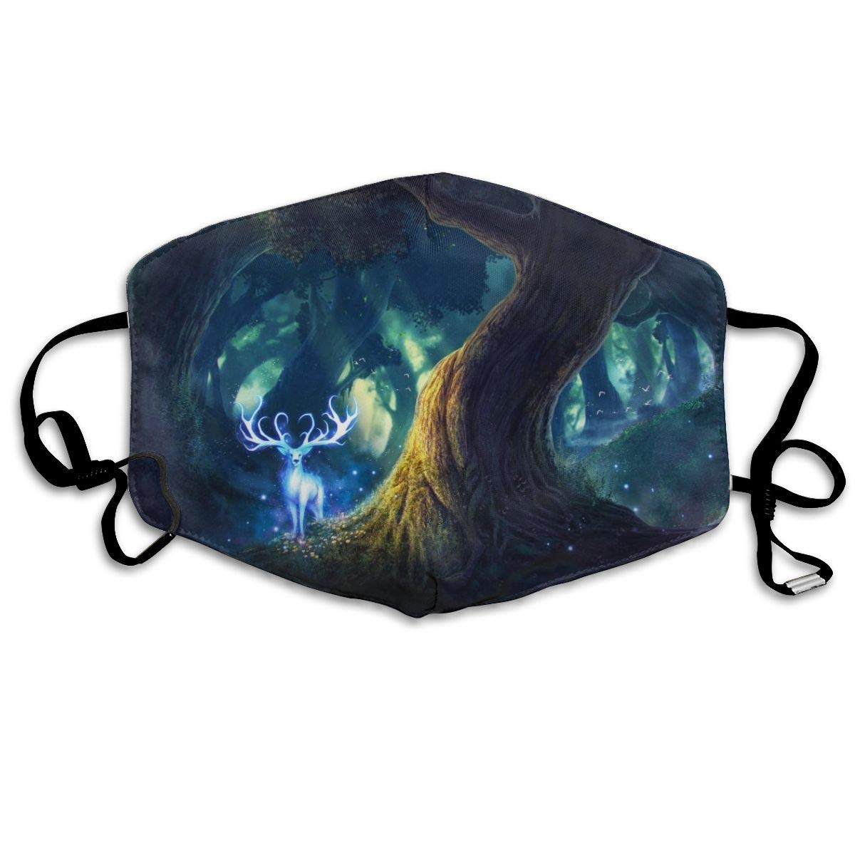 Mouth Mask for Daily Dress Up, Deer in The Forest Anti-dust Mouth-Muffle, Washable Reusable Holiday Half Face Masks for Mens and