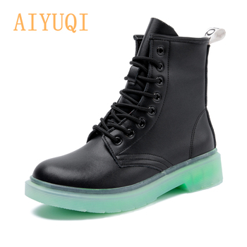 AIYUQI Women Boots Genuine Leather 2020 New Winter Fashion Fur Ankle Boots Women Red Flat Women Motorcycle Boots Autumn Shoes women shoes autumn boots fall 2014 new authentic flat with fashion