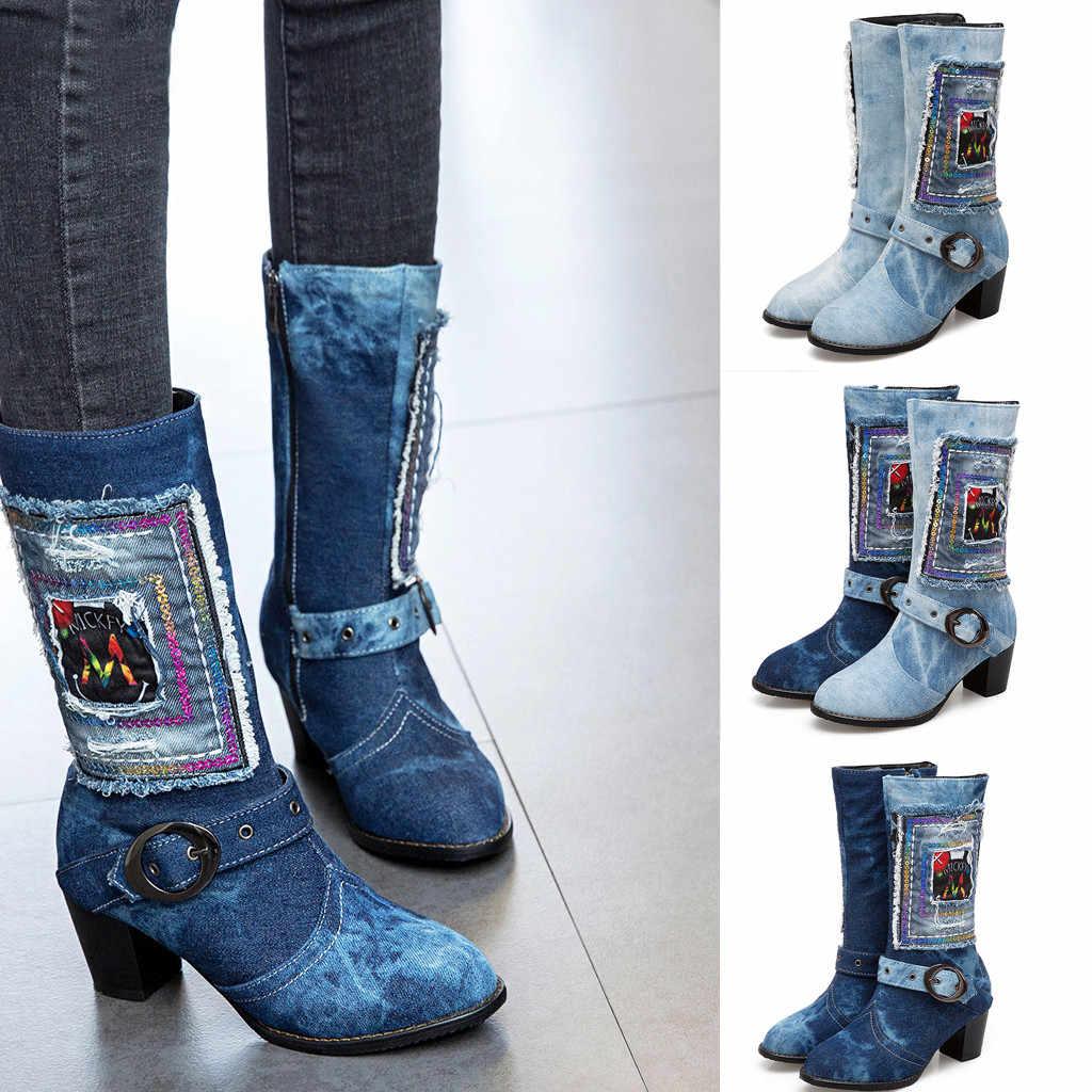 Kadın kot uzun çizmeler Vintage yuvarlak ayak kalın topuk ayakkabı kadın batı şövalye orta tüp toka kayış yarım çizmeler için kadın