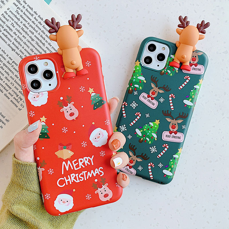3D Cute Deer Bear Christmas Phone Case For Iphone 12 11 11Pro Max XR XS Max X 6S 7 8 Plus 12Pro Soft Back Cover Merry Christmas