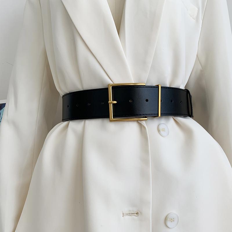 Women's Fashion Black Wide Belt Square Pin Buckle Imitation leather Waist Strap Decorative Coat Dress Simple Dress Waistband