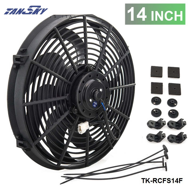 "Racing Car Universal 12V 14"" Electric Fan Curved S Blades Radiator Cooling Fan TK RCFS14F
