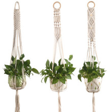 Подвесные кашпо ручной работы Подвеска для растений из макраме держатель для растений цветок/горшок вешалка для украшения стены countyard сад
