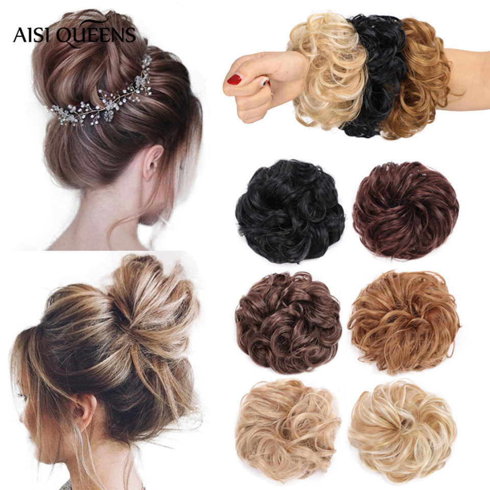 AISI QUEENS Synthetic Chignons Hair Bun Hairpieces For Women Messy Bun Hair Extension Accessories Rubber Band Blonde Brown Hair