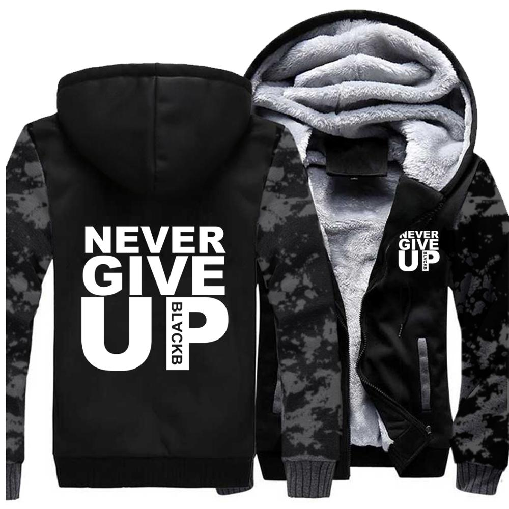 Never Give Up Hoodies Men Letter Print You'll Never Walk Alone Mens Jacket Autumn Winter 2019 Casual Military Thick Men's Hoodie