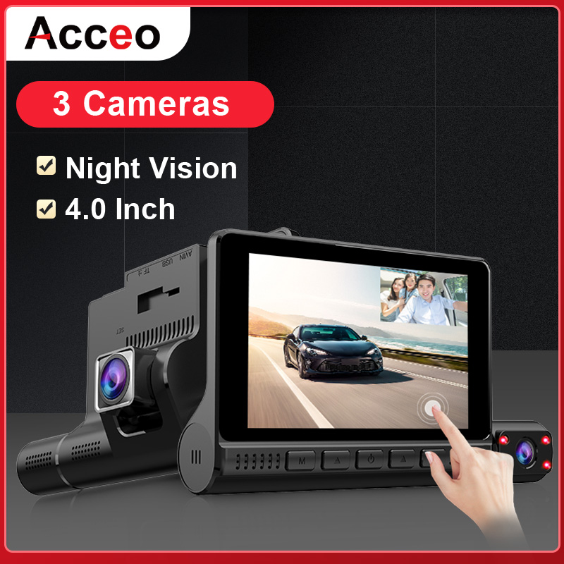 ACCEO Car DVR 3 Cameras Lens 4.0 Inch Dash Camera Dual Lens With Rearview Camera Video Recorder Auto Registrator Dvrs Dash Cam