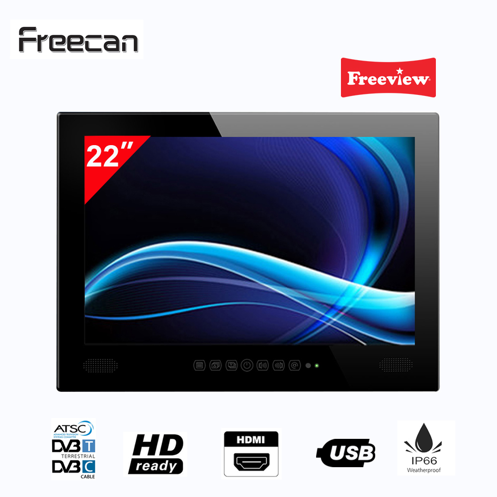 Freecan Premium Widescreen 22 Inch Waterproof TV IP66, Freeview Bathroom And Shower LED TV Mirror Finish For Hotel Home