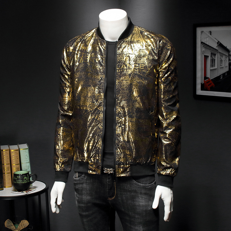 Luxury Black Gold Print Party Jacket Outfit Club Bar Coat Men Casaca Hombre 2020 Spring New Jacquard Bomber Jackets Men Clothes