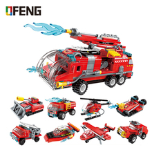 8in1 city fire rescue truck building blocks car helicopter boat model Assembly Bricks Toys for Children Gifts недорого