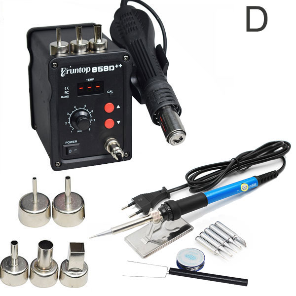 Eruntop 858D++ SMD ESD Soldering Station LED Digital Solder Iron Hot Air GUN Blowser Upgraded From 858D