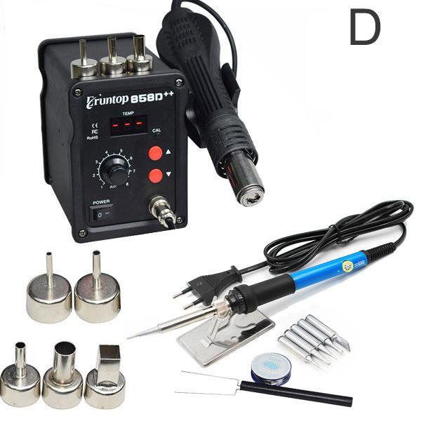 Eruntop 858D++ SMD ESD Soldering Station LED Digital Solder Iron Hot Air GUN Blowser Upgraded From 858D
