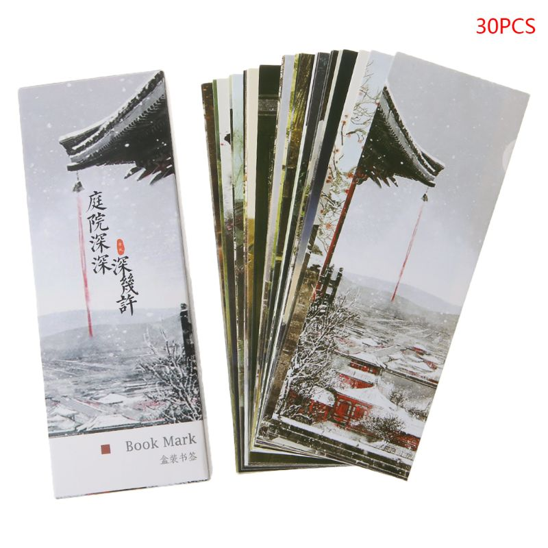 30pcs Creative Chinese Style Paper Bookmarks Patio Courtyard Painting Cards Retro Beautiful Boxed Bookmark Commemorative Gifts