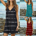 V-Neck Casual Sleeveless Dress Women's Summer Striped Printed Sling Sexy Boho Loose Beach Pullover Party Dress Plus Size