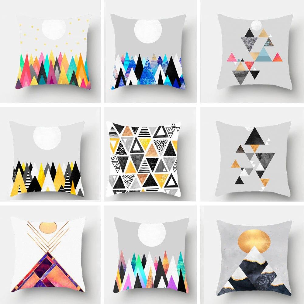 Modern Geometric Printed Super Pillowcase Sun Polygon Pattern Creative Home Office Decoration Cushion Cover45x45cm