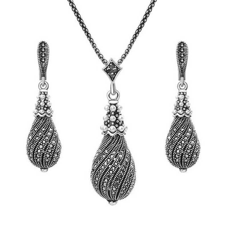 Incredibile Prezzo 1 Set Vintage Simulato Collana di Perle Orecchini Set Della Boemia Nero da Sposa D'epoca Set di Gioielli da Sposa