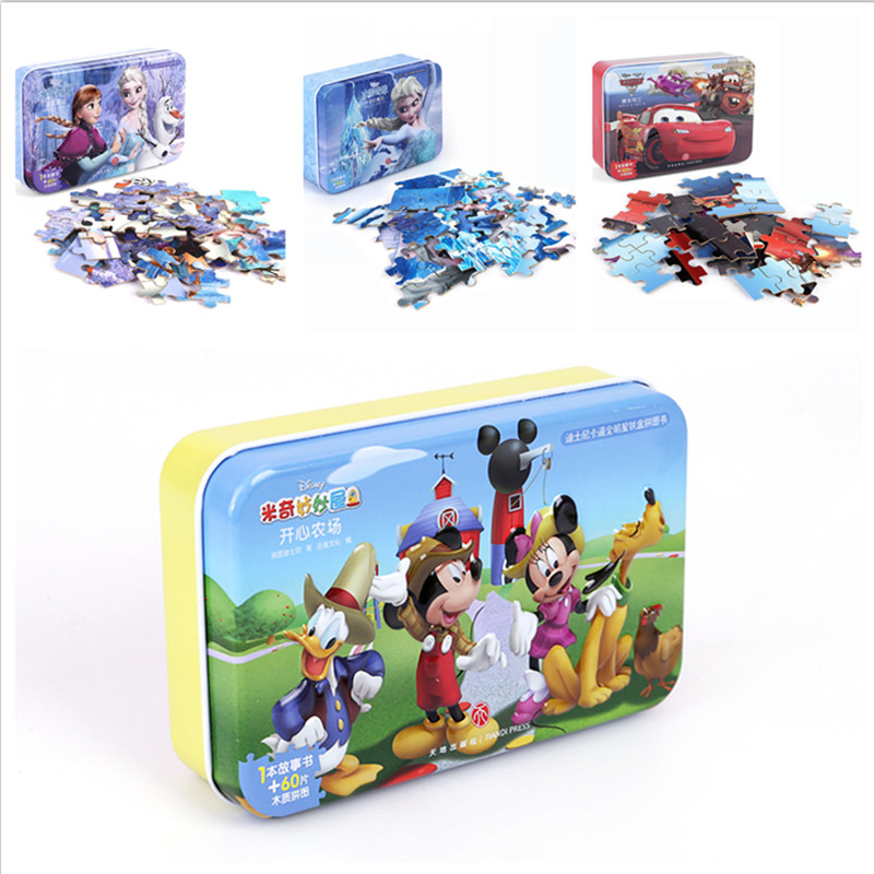60pcs/set Cartoon Wooden Toys 3D Wooden Puzzle Iron Box Package Jigsaw Puzzle For Child Educational Montessori  Christmas Gifts