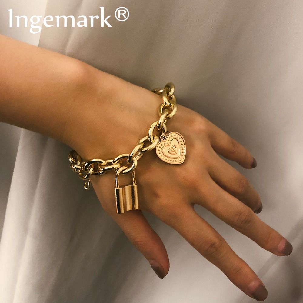 Ingemark Punk Lover's Lock Pendant Bracelets Bangles Fashion Alloy Carved Lover Heart Thick Chain Bracelet Couple Jewelry 2019