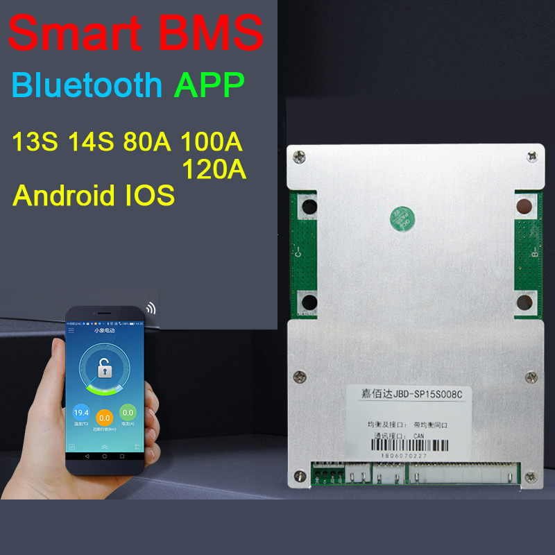 Dykb Smart BMS 14S 13S 80A 100A 120A Li-ion Lithium Battery Protection Board Balance BMS High Power Bluetooth APP Control