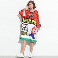 2019 Summer Harajuku Women Printed Super Mario Fashion Top Tees Plus Size Designer Cartoon Loose Long T Shirt Novelty Clothing
